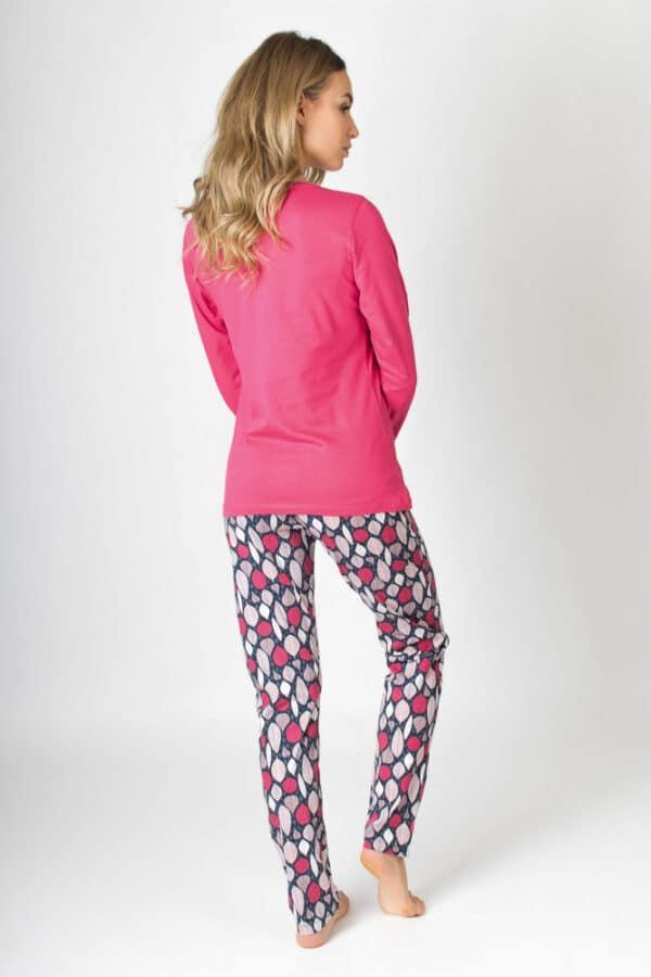 Női pizsama pink Baglyok 100% pamut