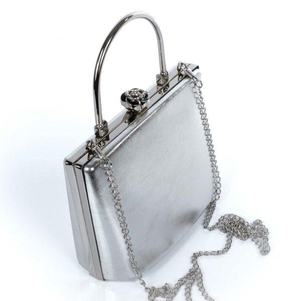 Alkalmi, színházi táska, fém szegély, strasszos, ezüst