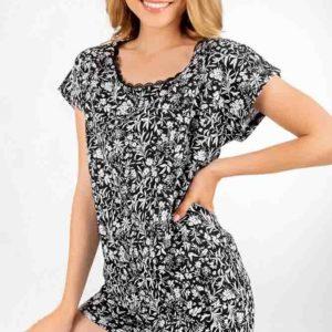 Női pizsama Éjjeli virágos rét 100% pamut